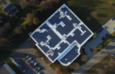 Aerial view of solar panels on the roof of Simmons' headquarters
