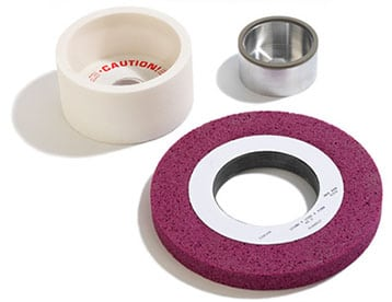 Conventional, Ceramic, and Borazon grinding wheels grouped together.