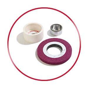 Conventional, Ceramic, and Borazon grinding wheels grouped together in a red circle.
