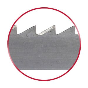 Honeycomb bandsaw blade in a red circle