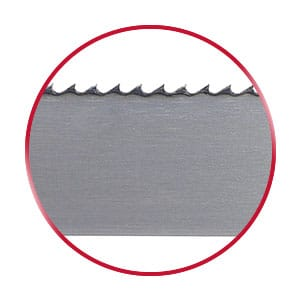 Simcor bandsaw blade in a red circle