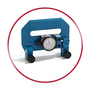 A blue tension meter in a red circle