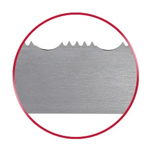 Razorback bandsaw blade in a red circle