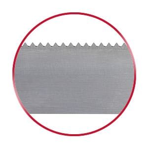 V-Tooth bandsaw blade in a red circle
