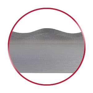 Wavy bandknife blade in a red circle